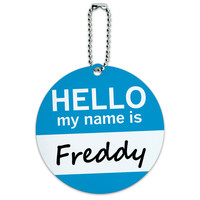 Freddy Hello My Name Is Round ID Card Luggage Tag