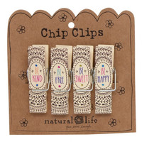 Natural Life Chip Clip Set of 4 Mandalas Be Happy