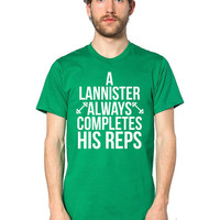 Game of Thrones T-Shirt - A Lannister Always Completes Rep - Targaryen - Baratheon - Tyrion Lannister - House Lannister - Workout T-Shirt