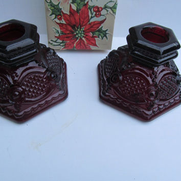 Pr Ruby Glass Candle Stick Holders Avon Cape Cod Candlesticks  1876 Avon Cologne Bottle  Red Candle Stick Holders Ruby Red Glass Decor
