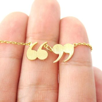Quotation Marks Inverted Commas Shaped Charm Necklace in Gold | DOTOLY