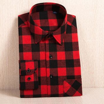 Men's Long Sleeve Big Plaid Brushed Flannel Shirt with Left Chest Pocket Slim-fit Soft Plus Size Casual Checkered Work Shirts