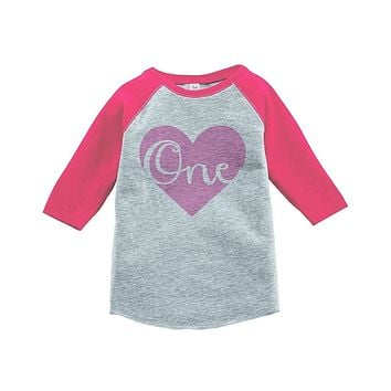 Custom Party Shop Girls' First Birthday Vintage Baseball Tee 2T Grey and Pink