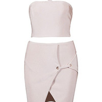 Halter Two Piece Bandage Dress - Nude