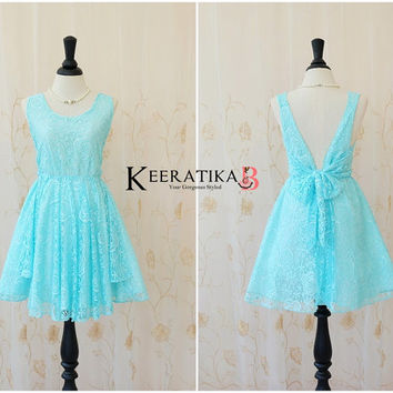A Party V Charming Dress Sparkle Bright Blue Lace Dress Prom Party Dress Blue Backless Dress Blue Lace Wedding Bridesmaid Dress XS-XL