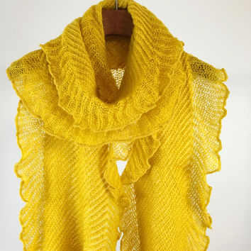 Mustard Yellow Warm Shrill Wrap Scarf, Yello Scarf, Mustard Yellow Knit Scarf