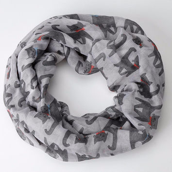 Hot Sale 2016 New fashion style Ladies Girl Voile Bow Cat Printed Pattern Silk Collar Neck Warmer Ring Scarf Wrap Shawl Scarf