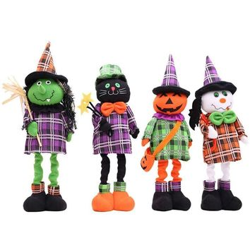 1Pc Cartoon Plush Standing Doll Retractable Doll Pumpkin/Black Cat/Ghost Stuffed Toy Halloween Doll FES6520