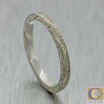 1930s Antique Art Deco Estate 18k White Gold 2mm Engraved Wedding Band Ring J8