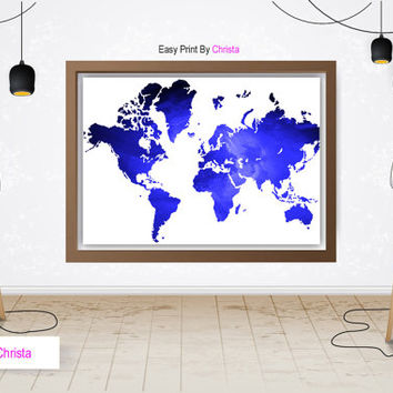 World map print, World map printable art, Blue map, Travel art, Travel poster, World map,  Modern wall decor, Continents, Instant download