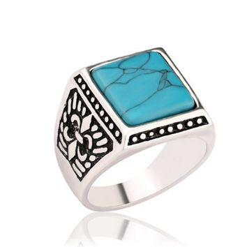 Western Ethnic Style Antique Silver Signet Rings Square Men Finger Ring For Male Accessories Jewelry Bague