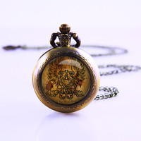 Dragon Age Grey Wardens Watch Necklace , Vintage Watch Pendant Necklace ,glass cabochon dome Watch , Real Watch Necklace
