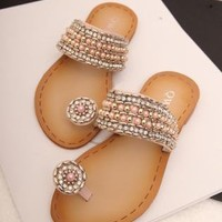 Rhinestone and Beads Flat Sandals 060521
