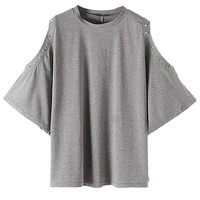 Grey Cold Shoulder Studs Batwing Sleeve T-shirt