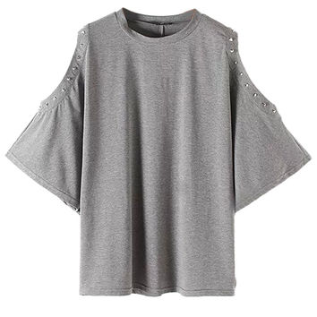 Gray Cold Shoulder Studs Batwing Sleeve T-shirt