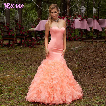 Classic Coral Ruffles Mermaid Prom Dresses Long Formal Evening Gown Sweetheart Organza Lace Up Women Dress