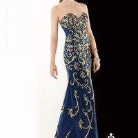 Claudine for Alyce 2393 - Navy Strapless Sequin Prom Dresses Online