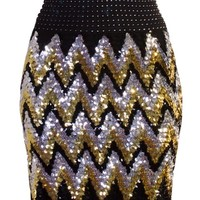 Chevron Glitz Skirt | Silver Gold Black Zigzag Sequin Skirt | RicketyRack.com