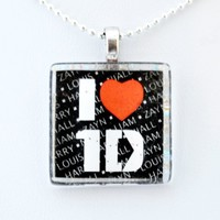 I Love One Direction 1D (Square) Harry, Zayn, Liam, Niall and Louis Glass Tile Pendant Necklace Jewelry Wearable Art