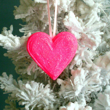 Heart Ornament  Fine Neon Pink Glitters Weddings Decoration Valentines Christmas Love Cake Topper Holiday Gifts for Her Hand Made in NH USA