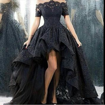 wedding dress short front long back strapless a-line floor length black lace wedding dress