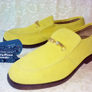 Vintage Lemon Meringue Boss Mens Hush Puppies Shoes NIB Worry Free Suede Leather Water Soil & Stain Proof Scotchgard Protector  Sz 11-1/2 M