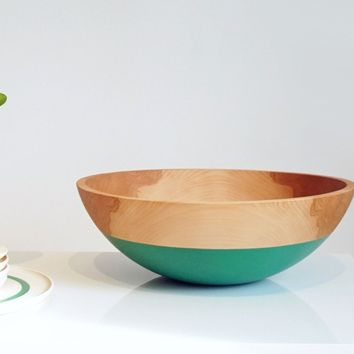 """Centerpiece Bowl 17"""" Extra Large, Color Dipped BEECH Wood"""