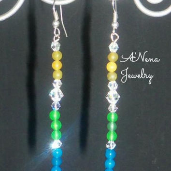 "Earrings: green,yellow & blue quartzite, ""Glamorous!"""