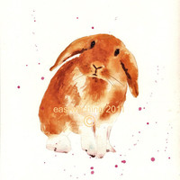 FREE shipping, Bunny rabbit art, bunny rabbit painting, baby girl gift, nursery baby girl