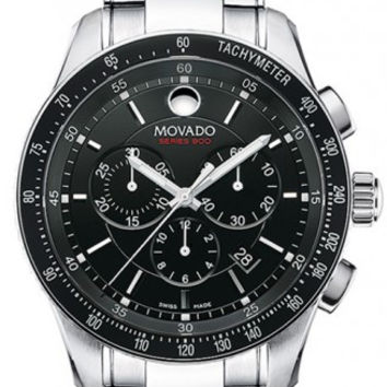 Movado Series 800 Men's Black Dial Black Bezel Chronograph Stainless Steel 42mm Watch 2600094