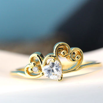 Heart Crystal Heart Curve Ring Infinite Love Best Friend Sister Ring Jewelry Gold Silver Gift Idea