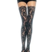 Leg Avenue Women's Rose Lace Stockings Thigh High With Lace Top:Amazon:Clothing