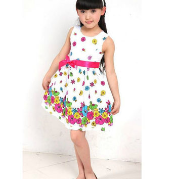 Girls Pretty Floral Summer Dress
