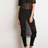 Black Sheer Mesh Midi Overlay Dress