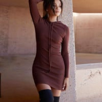 Women Simple Solid Color Hooded Strappy Long Sleeve Bodycon Mini Dress