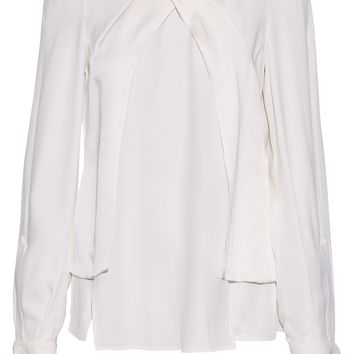 Wrap-effect satin-trimmed crepe blouse | ANTONIO BERARDI | Sale up to 70% off | THE OUTNET