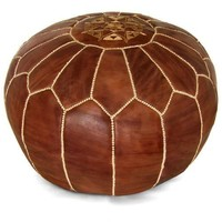 Brown Moroccan Pouf Round Genuine Leather
