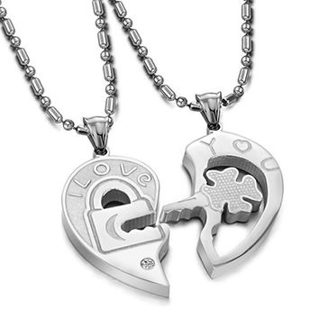 Interlocking His and Hers Irish Clover Key I Love You Matching Dangling Charm Pendant Silver Stainless Steel Necklace