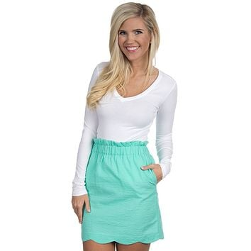 Solid Scalloped Seersucker Skirt in Seafoam by Lauren James - FINAL SALE