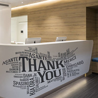 Thank You Sign Decal, Thank You Sign Sticker, Thank You in Many Languages Decor Design Wall Art, Thank You All Languages Room Mural se145