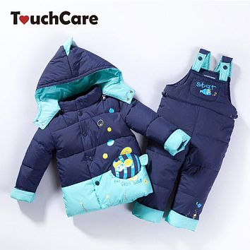 Winter Children White Duck Down Jacket Pants Clothing Set Girls Baby Coat Suspender Trousers thicken Ski Suit