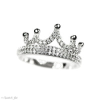 Sterling Silver Pave Set CZ Crown Princess Ring