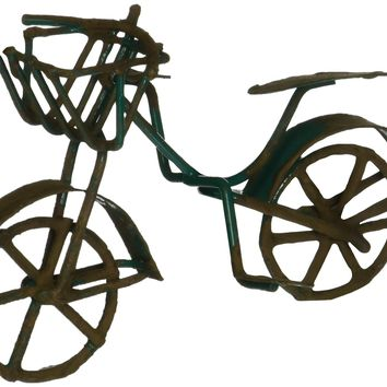 G & F Products G & F 10022GR MiniGarden Fairy Garden Miniature Green Mini Bicycle Outdoor Statue