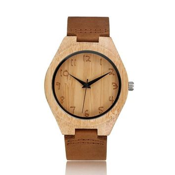 Bamboo Analog Quartz Nature Wood Wrist Watch