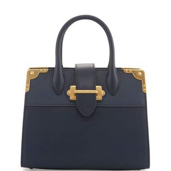 Prada Leather Trunk Tote Bag, Baltico