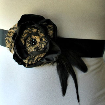 Printed Burlap and Black Satin Flower Sash with Feathers for Maternity, Wedding, Bridal, Photo Prop
