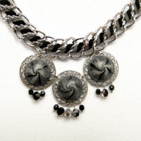Gray Bib necklace - Chain necklace -  Handmade necklace