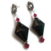"Black Obsidian Earrings with Swarovski Ruby Crystals in Antique Silver - 3"" - EAR108"