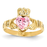 14k October Birthstone Claddagh Ring