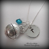 Basketball Charm Necklace with Initial Charm and Birthstone- Basketball Necklace- Children's Jewelry